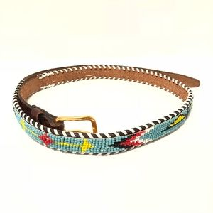 Accessories - Hand beaded and Laced Leather Belt